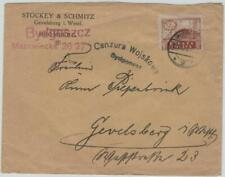 POLAND 1920 cover with 2.50 Mk stamp, BYDGOSZCZ to Germany, censored