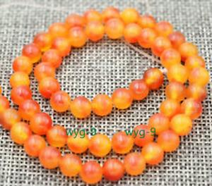 2pcs new 6mm Brazilian orange ruby round gemstone loose beads 15 inches