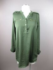 *H&M* SIZE 2 WOMEN'S GREEN HALF BUTTON LONG ROLL UP SLEEVES TOP