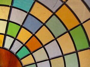 Newly crafted TRADITIONAL Stained Glass Window Panel SUNBURST 292mm x 289mm