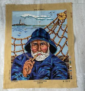 Vintage,Tapestry ' Salty' CAPTION of the SHIP, all COTTON repurpose, cushion rug