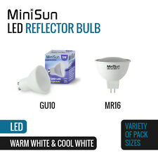 10 MiniSun 5w LED Gu10 Light Bulbs Thermal Plastic Cool White Lightbulbs