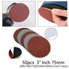 50pcs Hook&Loop 3 Inch 800 1000 1500 2000 3000 Grit Sand Paper Sanding Discs
