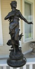 Bronze Statue  Art Nouveau  Signed  C-1890 - Graceful Lady with Flowing Hair
