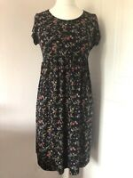 Red Herring Maternity Dress Black Floral Jersey Size 12 Tie Back Short Sleeves