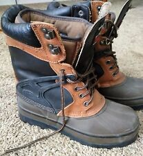 North Pass Men's Boots Black/Brown Leather Upper Rubber Shell & Sole USA Size 8M