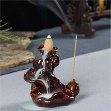 Waterfall Ceramics Glaze Incense Smoke Cone Burner Backflow Censer Holder Stick