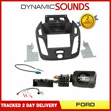 Double Din Fascia / Steering / Antenna Kit Black For Ford Transit Connect 2013 >
