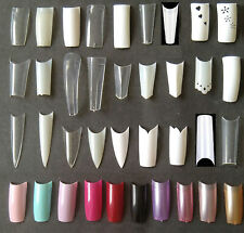 Nail Tips Coffin Stiletto Acrylic C Curve French White Natural Clear Extra Long