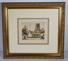 "6"" Vintage Hand Colored Etching Print Roger Hebbelinck ""Lissewege"" Belgium"