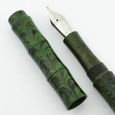 Ranga Ebonite Slim Bamboo Fountain Pen -  Smooth Green Ripple, JoWo Nib, C/C