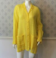 Vintage 1980s/1990s Escada Designer Bright Yellow Women's Long Sleeve Blouse