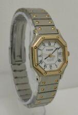 Vtg 1980s Tissot Seastar Quartz Octagonal Gold Two Tone Date Ladies Wrist Watch