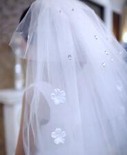 Voile à peigne 4 couches avec fleurs et strass pr robe de mariée ivoire réf V115