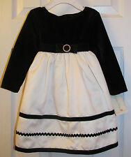 NWT Toddler Girl 18M Dress Black Velvet Ivory Holiday Christmas Sophie Rose NEW