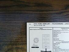 1975 Ford Mercury Lincoln Models 460 CI V8 4BBL SUN Tune Up Chart Great Shape!