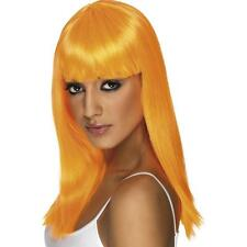 Ladies 80s Glamourama Fancy Dress Wig With Fringe Neon Orange by Smiffys