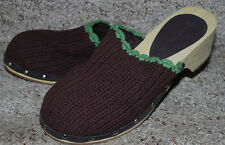 Airwalk Womens SZ 9 Clog Shoes Brown Crochet Lime Green Trendy Slip-On Wood Heel