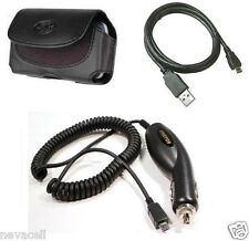 Car Charger+Leather Case+USB Data Cable for Cricket Kyocera S2100 Luno