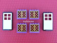 New Lego City Friends Town House 2 Doors and 4 Windows / Gold Panes Shutters