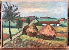 Tableau Huile MARCEL COMBOT (1913-2005) Paysage, Meule de Foin, Village MC22