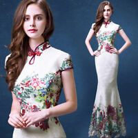 White Lace Chinese's Cheongsam Formal Evening Prom Party Dress Ball Gown Gift