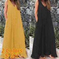 UK Womens Summer Sleeveless Baggy Cotton Linen Kaftan Maxi Shirt Dress Plus Size