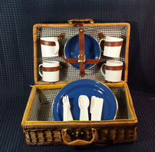 Wicker Suitcase/Luggage Style Picnic Basket w/ 4 plates & 4 cups & 4 Bowls