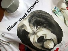 SMALL True Vtg 90s BEARDED COLLIE BRITISH DOG GRAPHIC White T-shirt