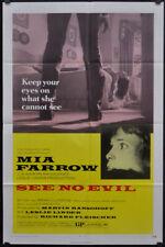 Sehen Ohne Böse 1971 Original 27X41 Film Poster Mia Farrow Dorothy Alison