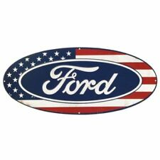 "20"" FORD OVAL VINTAGE DISTRESSED STYLE AMERICAN FLAG EMBOSSED METAL SIGN ~ NEW!"