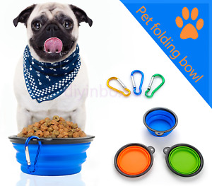 3PCS Pet Dog Cat Collapsible Feeding Bowl Travel Portable Silicone Water Dish