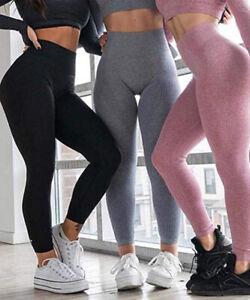 Women High Waist Seamless Yoga Leggings Hip Up Gym Sport Workout Pants Textured