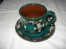 Haseley Manor Arreton Isle of Wight Studio Pottery Slip Decorated Cup & Saucer