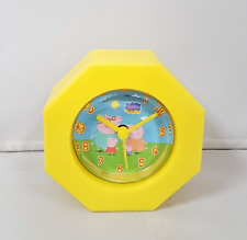 Childs Peppa Pig Plastic Yellow Family Alarm Clock Kids Bedroom George Dial Time