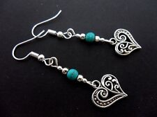 A PAIR OF TIBETAN SILVER & TURQUOISE BEAD HEART DANGLY EARRINGS. NEW