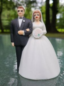 """Vintage Bride and Groom~Wedding Cake Topper~Bell Lefton~Hand Painted Bisque 4""""T"""
