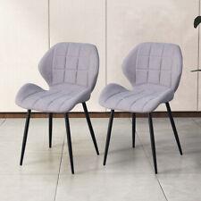2x Esszimmer Küche Stühle Essstühle Runde Rückseite Schwarz Metallbeine Neu Grau