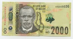 Malawi 2000 Kwacha 1-6-2014 Pick 69 UNC Uncirculated Banknote Serial AA