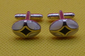 CUFFLINKS, MOTHER OF PEARL , SILVER TONED , (C1304)
