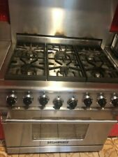 "American Range 36"" Stainless-steel residential gas range with gas convection ovn"