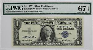 1957*  $1 Silver Certificate PMG 67 EPQ (*A block)  FR-1619 STAR Note