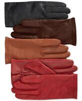 Charter Club Women's Black Genuine Leather Fleece Lined Gloves Black SIZE M