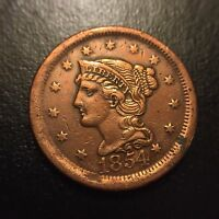 1854 Braided Hair Large Cent AU About Uncirculated One Penny Mature Head Variety
