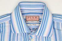 Thomas Pink Mens Shirt 15.5/34 Blue White Pink Stripe Finest Cotton French Cuff