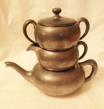 Vintage Stacking Tea Serving Set Pewter 3092
