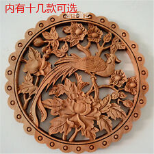 CHINESE HAND CARVED FLOWER BIRD STATUE CAMPHOR WOOD PLATE WALL SCULPTURE