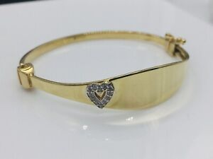 Genuine 9ct Gold 3mm Oval Plate Heart Baby Bangle 50mm Expandable Free Engraving