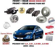 Für Peugeot 1.8 2.0 1.6 HDI 407 2004-2011 Vorne + Hinten Bremsscheiben