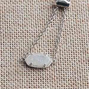 Kendra Scott Elaina Silver Adjustable Chain Bracelet Iridescent Drusy